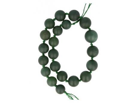 Kralen streng jade bol geknoopt donkergroen