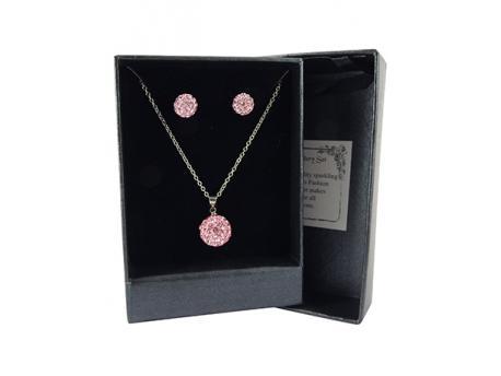 Shamballa hanger en oorbel roze
