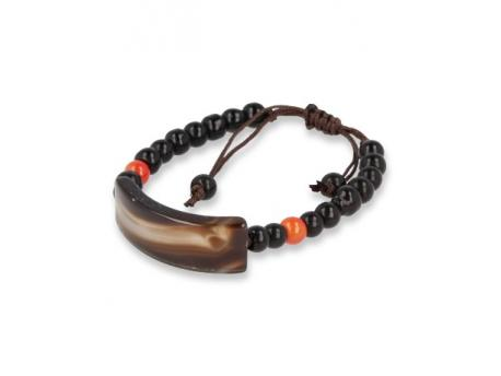 Armband onyx/agaat plat natuur