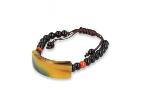 Armband onyx/agaat plat geel