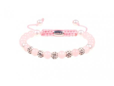 Armband bibiza 1 roze kwarts