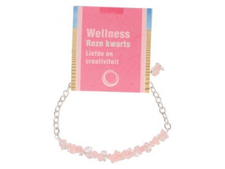 Bar armband roze kwarts op kaart