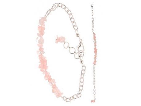 Bar armband roze kwarts