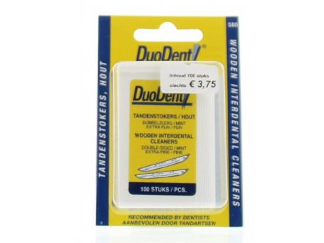 Duodent Tandenstoker hout fine/extra fine dubbelzijdig 100st