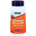 NOW Vitamine D3 1000IE & Vitamine K2 120cap