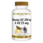 Golden Naturals Vitamine K2 200mg & D3 25mg 60cap